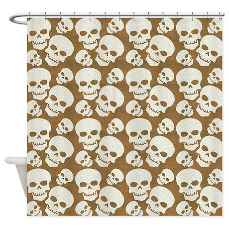 Skull Illustration Pattern Design Shower Curtain