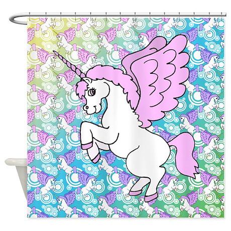 Unicorn Rainbow Pattern Shower Curtain
