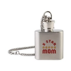 Picture of flask necklace with 5 Star Mom design