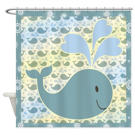 Cute Whale With Pattern Shower Curtain