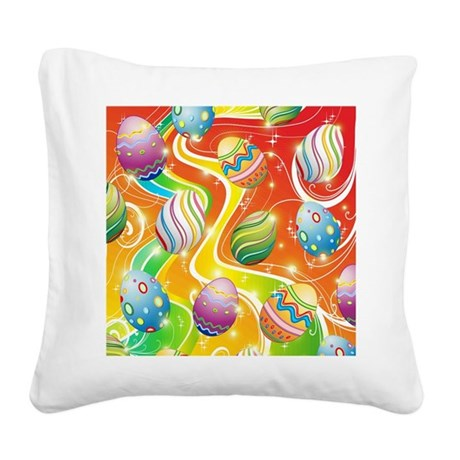 Happy Easter Eggs Design Square Canvas Pillow