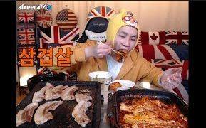 [韩国吃播][花猪]烤五花肉+烤泡菜