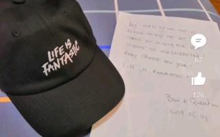 信誓蛋蛋帽子实物,竟然还有钢蛋的亲笔信!