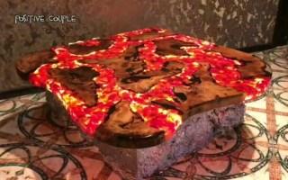 国外牛人用环氧树脂和红岩石做出精美绝伦的桌子,太震撼了!