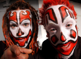 CHICAGO, IL - OCTOBER 30: Rappers Shaggy 2 Dope (l) and Violent J (r) of the Insane Clown Posse pose backstage October 30, 2003 at the Riviera in Chicago, Illinois. (Photo by Scott Harrison/Getty Images)