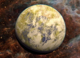 Potentially habitable Super-Earth Gliese 832 c appears in an artist's conception against a background of a stellar nebula.