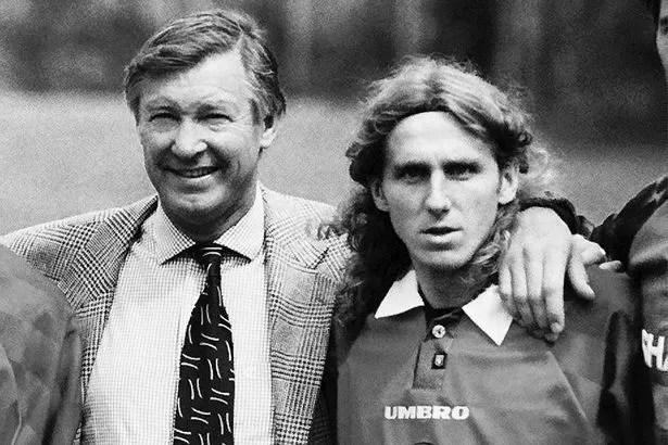 Sir Alex Ferguson and Karol Poborsky.