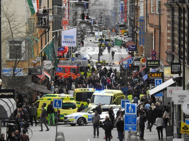 Billedresultat for A suspected terrorist targeted young childrenas he drove a hijacked lorry into a crowded shopping street in Stockholm, witnesses claimed last night.