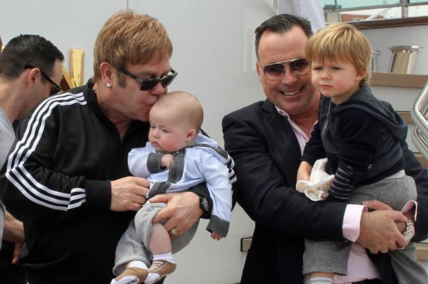 Elton John il marito David Furnish a Venezia, con i figli Zachary Jackson Levon Furnish-John e Elijah Joseph Daniel Furnish-John