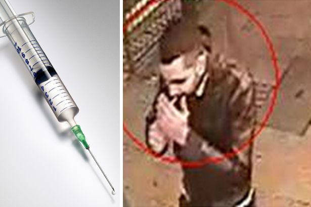 CCTV image of a man suspected of attacking women with a hypodermic needle in Birmingham city centre