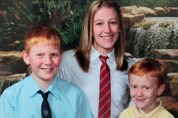 Simon (right) with his brother Matthew and sister Stephanie