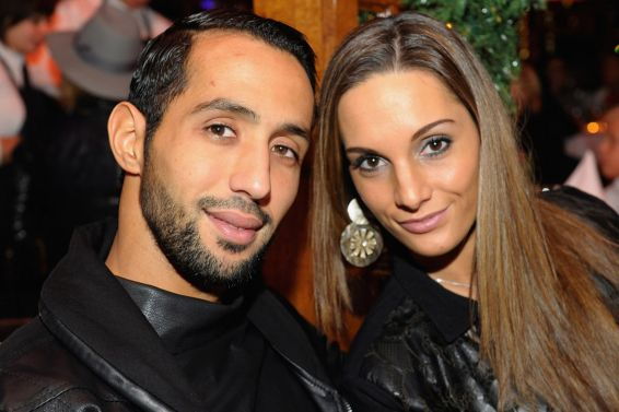 Medhi Benatia and his wife Cecile Benatia attend the FC Bayern Muenchen Christmas Party at Schubeck's Teatro restaurant on December 7, 2014 in Munich, Germany.