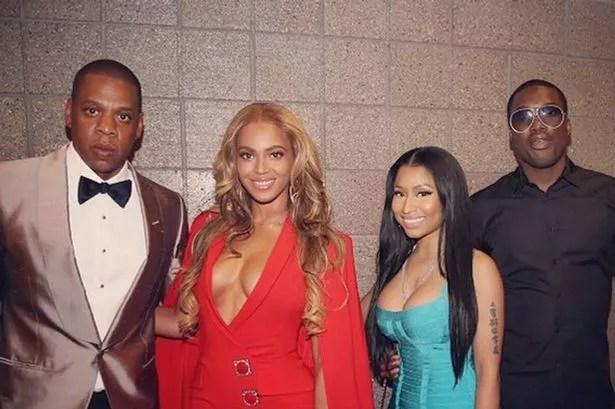 Beyonce, Jay Z and Nicki Minaj at Mayweather VS Pacquiao
