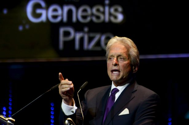 Michael Douglas wins the Genesis Prize at an award ceremony in Jerusalem