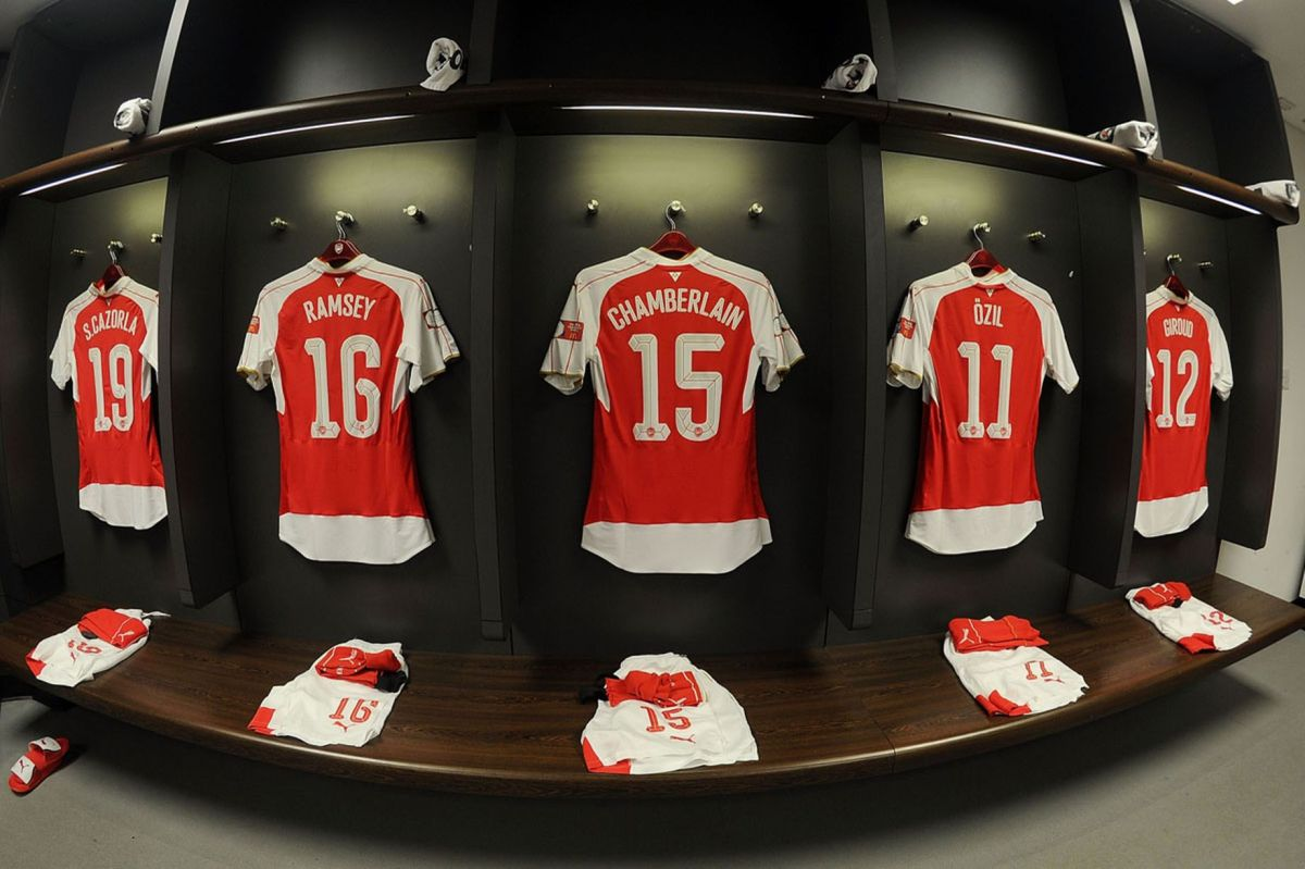 Arsenal shirts hang in the changing room before the match