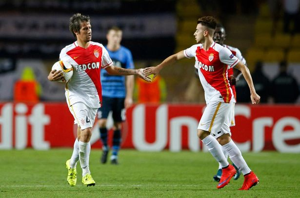 Stephan El Shaarawy celebrates with Fabio Coentrao after scoring the first goal for Monaco