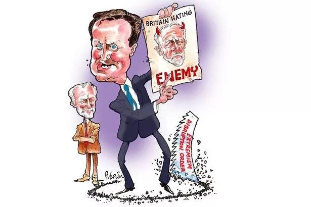 David Cameron's anti-Corbyn propaganda, cartoon