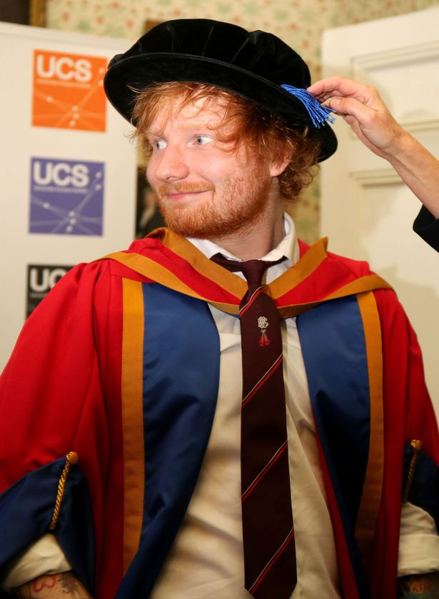 """Ed Sheeran receiving an honorary degree from University Campus Suffolk in Ipswich for his """"outstanding contribution to music"""""""
