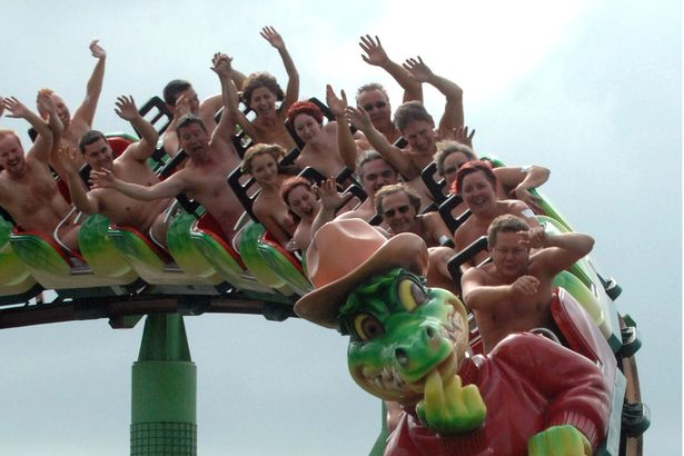 Adventure Island Naked Roller Coaster World Record Attempt