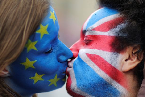 EU and GB flag face paint kiss