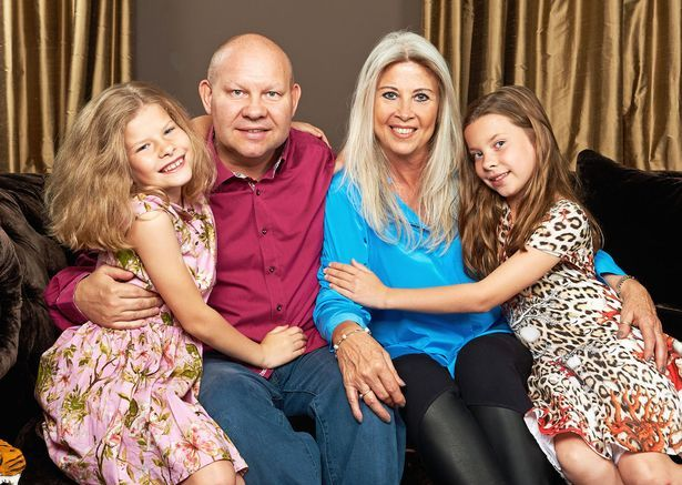 Glamorous grandmother Jayne Clark with her 9 year old twins Maggie and Norah and husband Martin