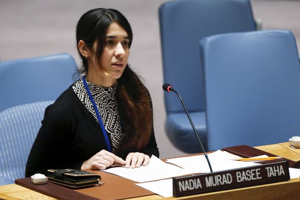 Nadia Murad Basee, a 21-year-old Iraqi woman of the Yazidi faith, speaks to members of the Security Council during a meeting at the United Nations headquarters in New York,