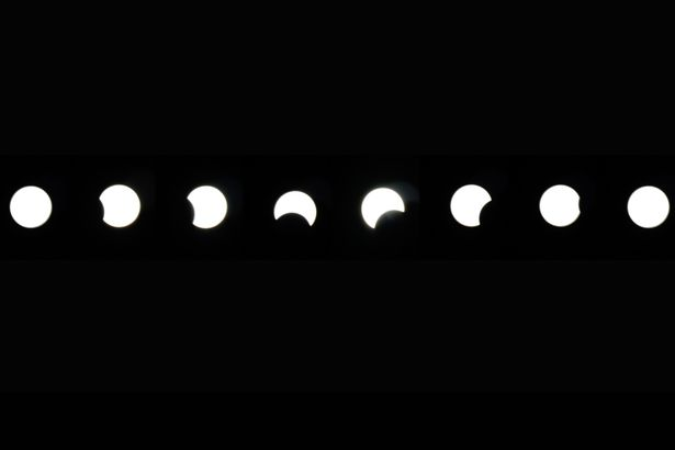 The process of a partial solar eclipse in Sandton, Johannesburg, South Africa, 01 Sep 2016