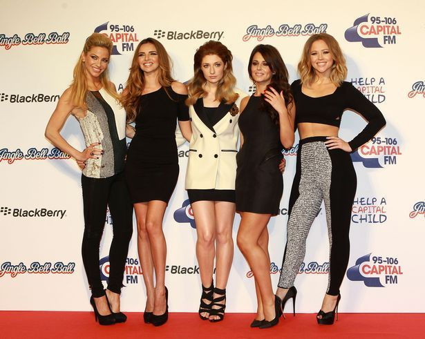 Sarah Harding, Nadine Coyle, Nicola Roberts, Cheryl Cole and Kimberley Walsh of Girls Aloud attend the Capital FM Jingle Bell Ball at 02 Arena on December 9, 2012 in London, England