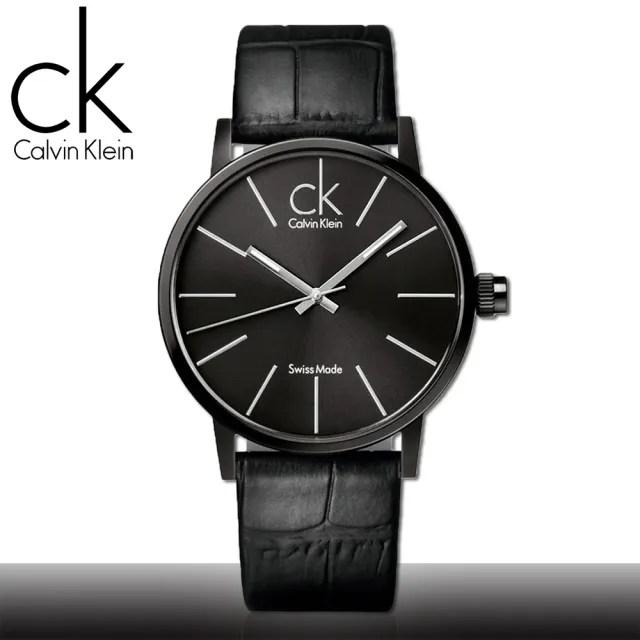 【瑞士 CK手錶 Calvin Klein】黑面_不鏽鋼錶殼_皮革錶帶_時尚男錶(K7621401)