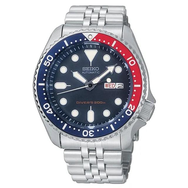 【SEIKO 精工】防水200米 不鏽鋼錶帶 日期窗 男錶(SKX009K2)