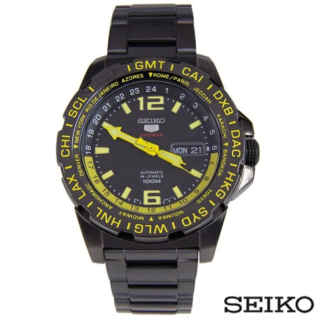 【SEIKO精工】精工5夜光單向錶圈不鏽鋼腕錶(SRP689K)