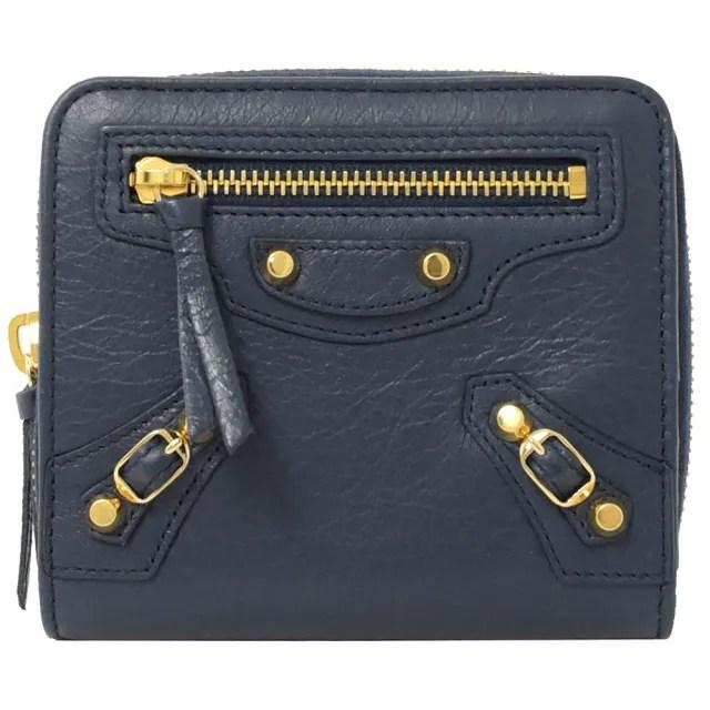 【Balenciaga 巴黎世家】經典金扣小羊皮扣式雙面零錢短夾(深藍)