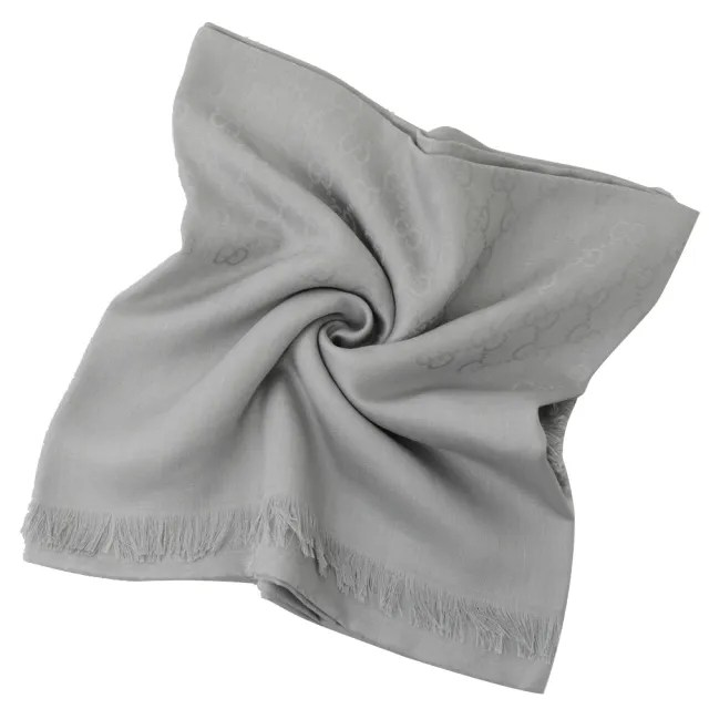 【GUCCI 古馳】經典雙G緹花絲綢羊毛披肩大絲巾圍巾(灰)