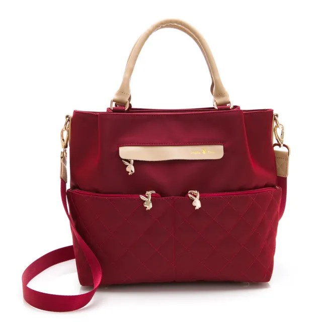 【PLAYBOY】手提包附長背帶 質感新生活系列(紅色)