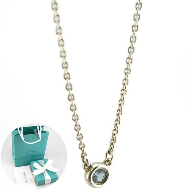 【Tiffany&Co. 蒂芙尼】純銀鑲圓形海藍寶石項鍊