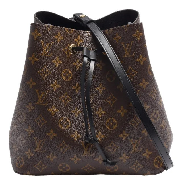 【Louis Vuitton 路易威登】M44020經典Neonoe系列Monogram帆布印花牛皮鑲飾束口斜背/肩背水桶包