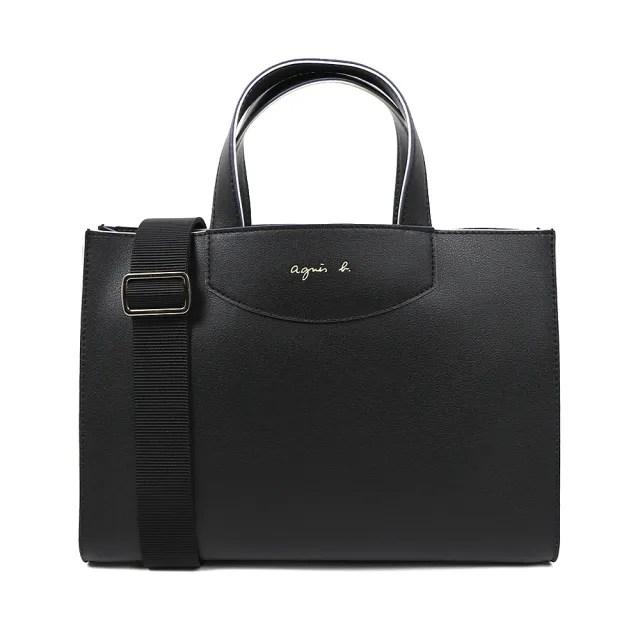【agnes b.】Voyage 小款燙金logo 皮革兩用手提肩背包(黑)