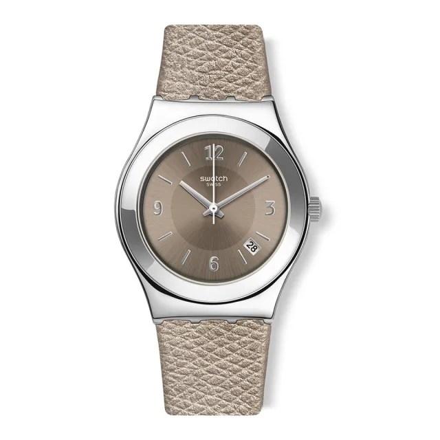 【SWATCH】金屬系列手錶 JUSTSAND 金屬-沙棕(33mm)