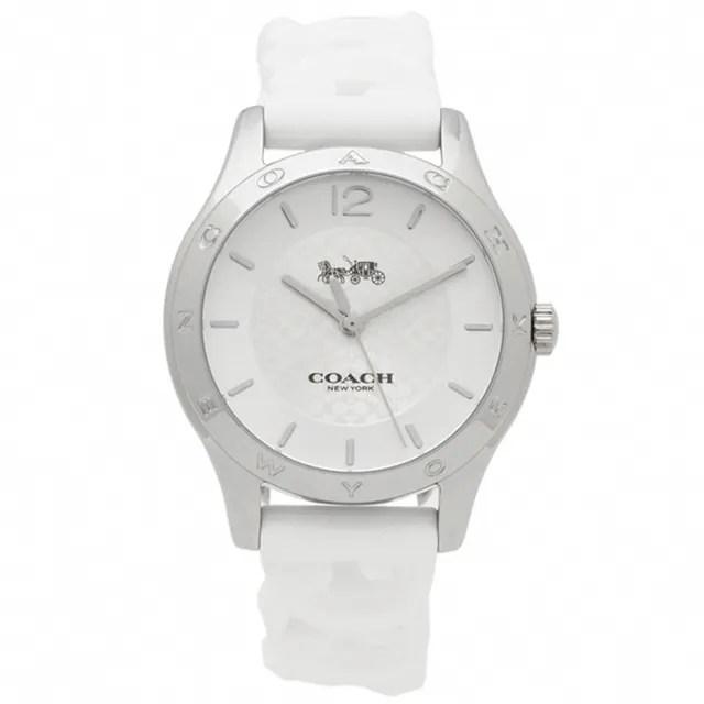 【COACH】白色X銀框C logo矽膠錶帶女錶