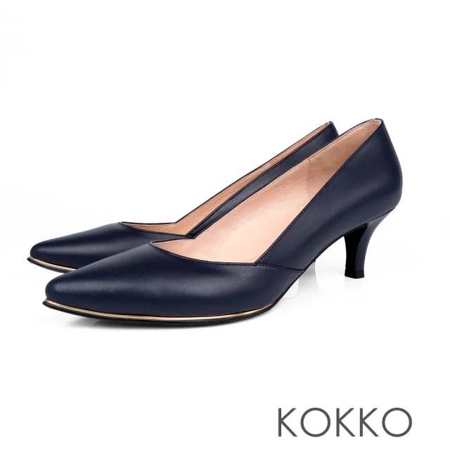 【KOKKO】女王品味尖頭鑲嵌金屬真皮高跟鞋(法式藍)