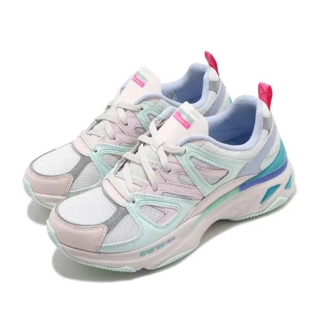 【SKECHERS】休閒鞋 Energy Racer 增高 老爹鞋 女鞋 異材質拼接 止滑 耐用 穿搭 反光 粉 綠(149371LPMT)