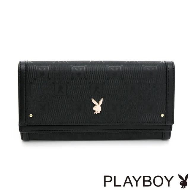 【PLAYBOY】翻蓋長夾 Brilliant系列(黑色)