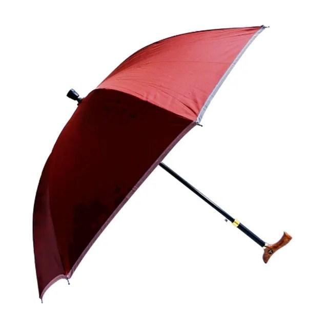 【Weiyi】調高式自動手杖傘 - 反光系列紅酒紅(3段式高度調整 抗UV)