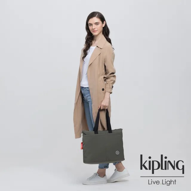 【KIPLING】率性深褐軍綠手提電腦公事包-CHIKA