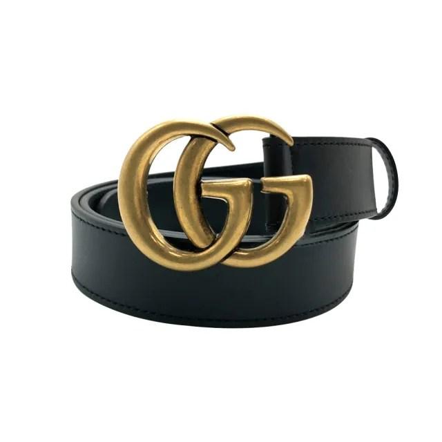 【GUCCI 古馳】仿舊金雙G logo滑面小牛皮腰帶/皮帶(414516-黑)