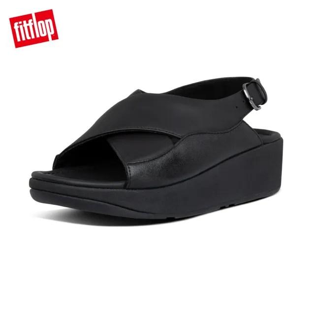 【FitFlop】MYLA LEATHER BACK-STRAP SANDALS 可調式交叉後帶涼鞋-女(靚黑色)