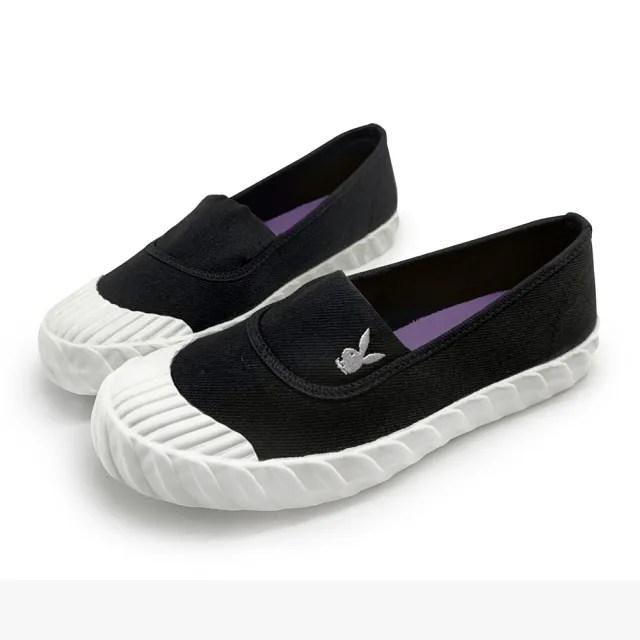 【PLAYBOY】Casual帆布百搭餅乾懶人鞋-黑-Y6709CC
