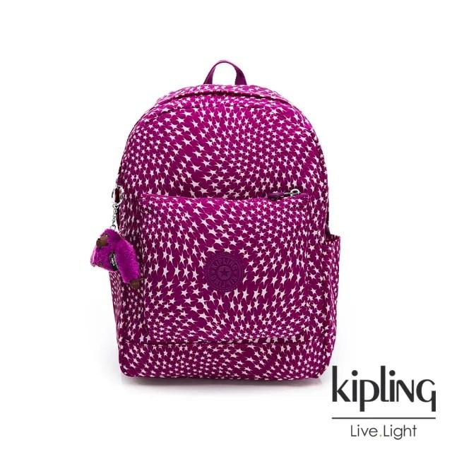 【KIPLING】星漾紫印花手提後背包-GHIZLANE