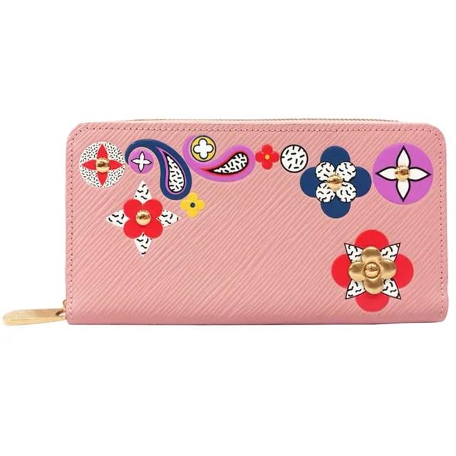 【Louis Vuitton 路易威登】M62067 經典Monogram花卉貼片水波紋長夾(玫瑰粉色)