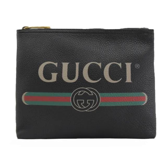 【GUCCI 古馳】經典品牌LOGO綠紅綠大手拿包化妝包萬用包(黑 大款)